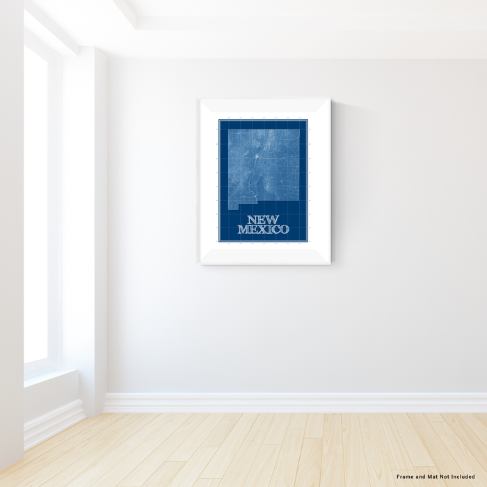 New Mexico state blueprint map art print designed by Maps As Art.
