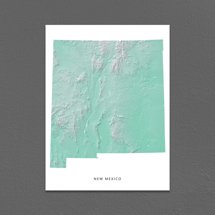 New Mexico state map print with natural landscape in aqua tints designed by Maps As Art.