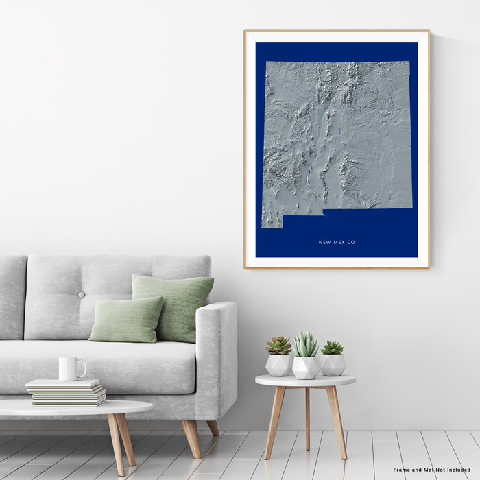 New Mexico state map print with natural landscape in greyscale and a navy blue background designed by Maps As Art.