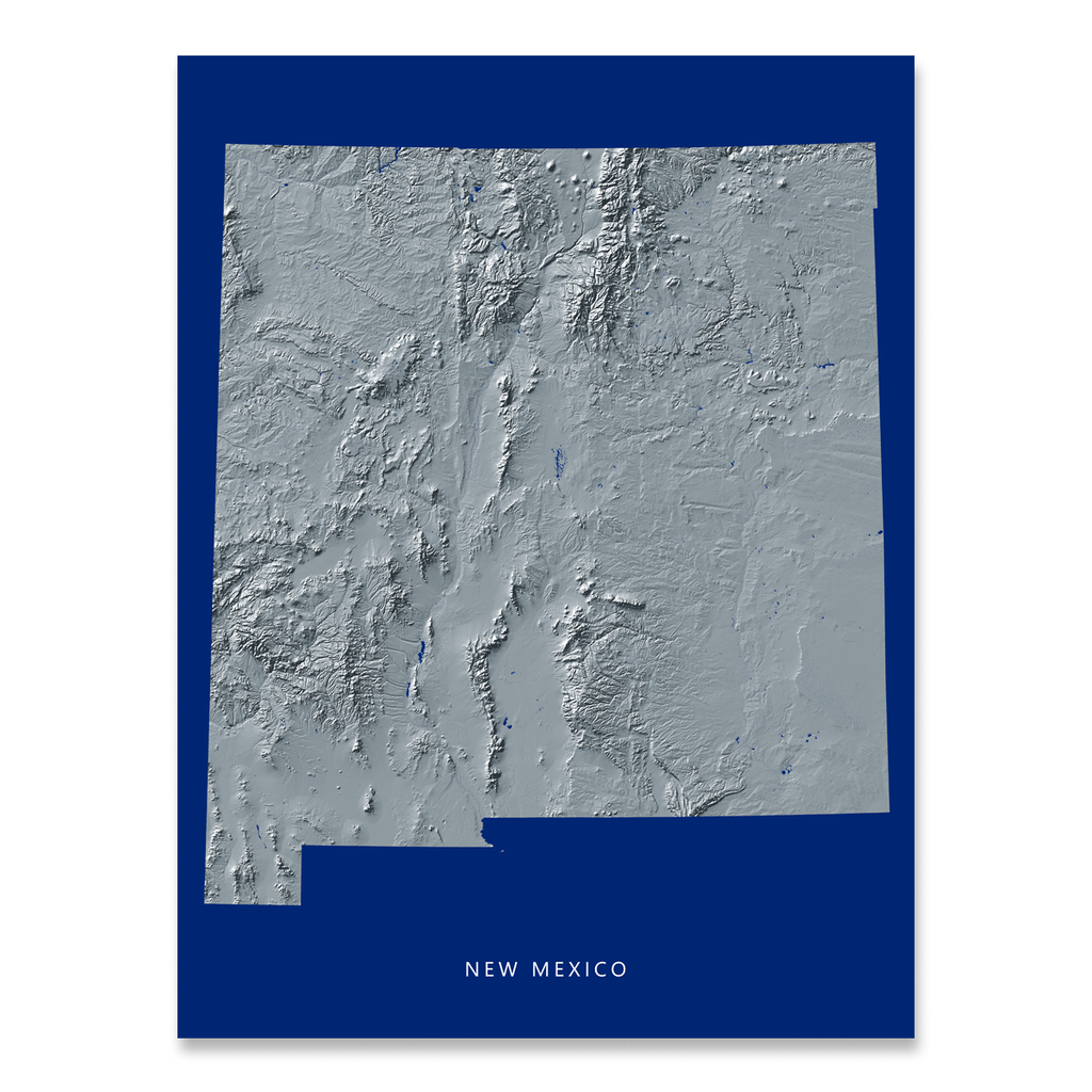 New Mexico Map Print, Navy Landscape