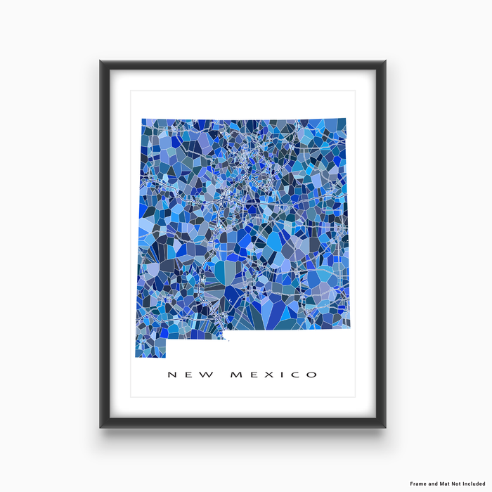 New Mexico state map art print in blue shapes designed by Maps As Art.