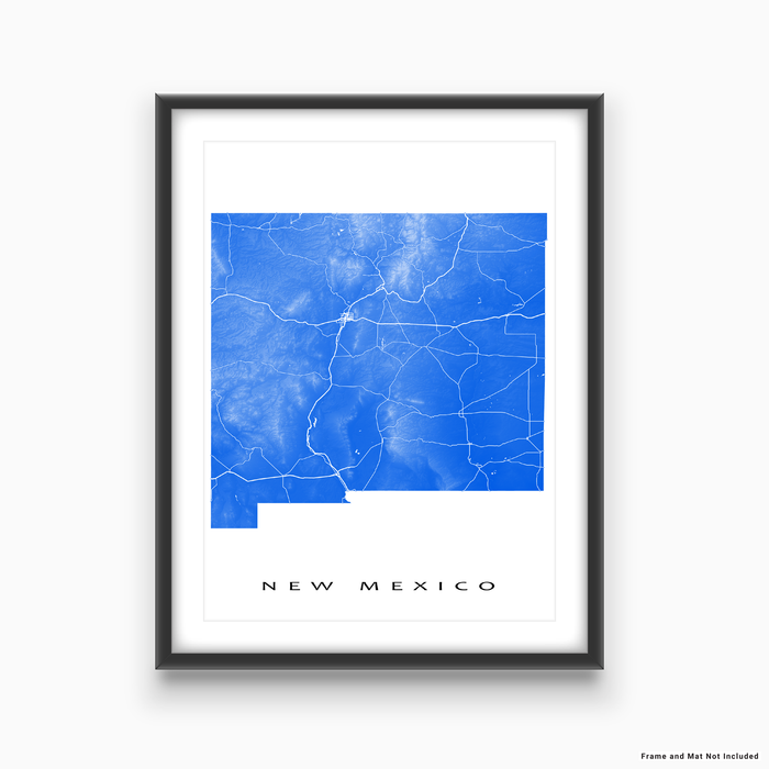 New Mexico state map print with natural landscape and main roads in Blue designed by Maps As Art.