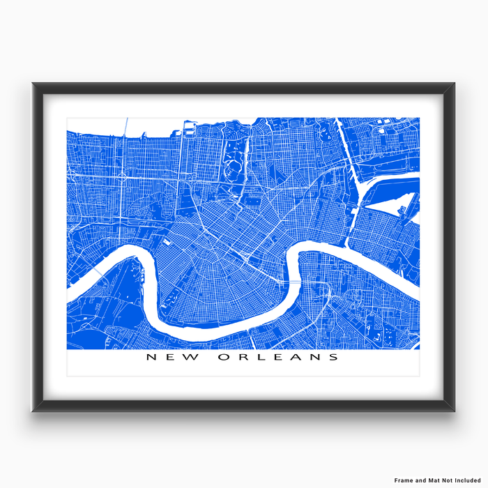 New Orleans, Louisiana map print with city streets and roads in Blue designed by Maps As Art.