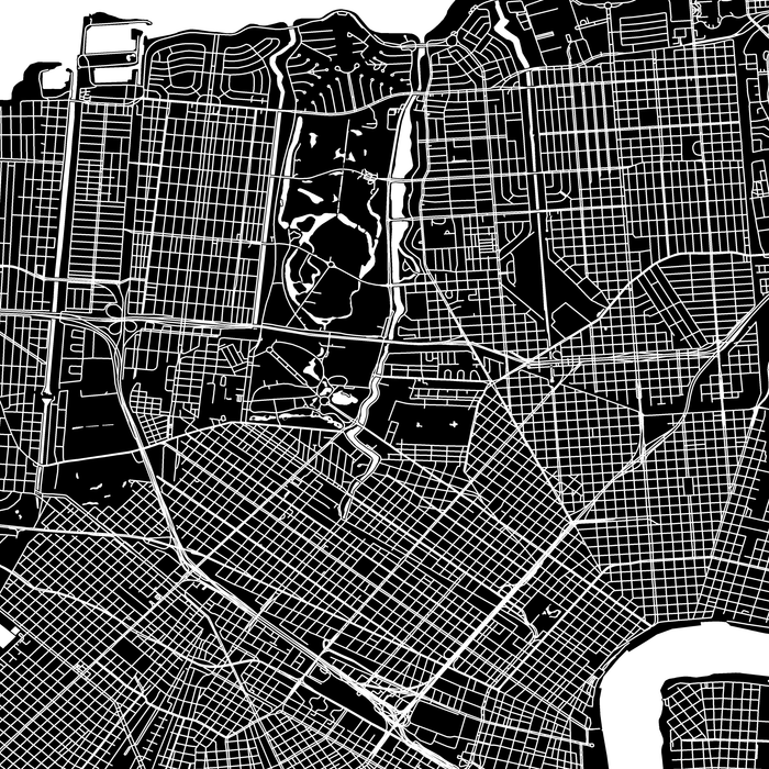 New Orleans, Louisiana map print close-up with city streets and roads designed by Maps As Art.