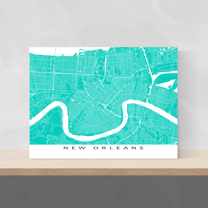 New Orleans, Louisiana map print with city streets and roads in Turquoise designed by Maps As Art.
