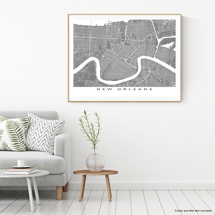 New Orleans, Louisiana map print with city streets and roads in Grey designed by Maps As Art.