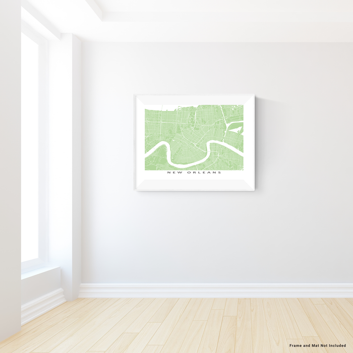 New Orleans, Louisiana map print with city streets and roads in Sage designed by Maps As Art.