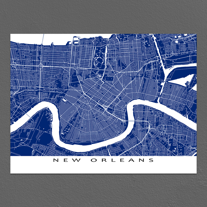 New Orleans, Louisiana map print with city streets and roads in Navy designed by Maps As Art.