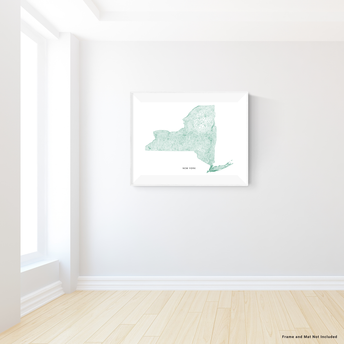 New York state map art print in a geometric, minimalist style designed by Maps As Art.