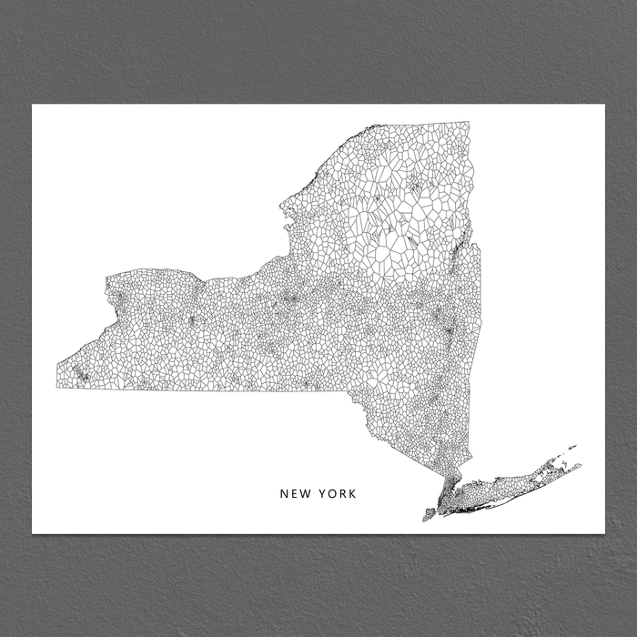 New York Map Print, Geometric