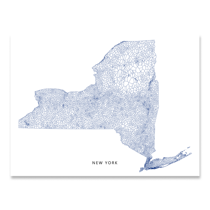 graphic relating to Printable Maps of New York State named Contemporary York Map Print, Geometric