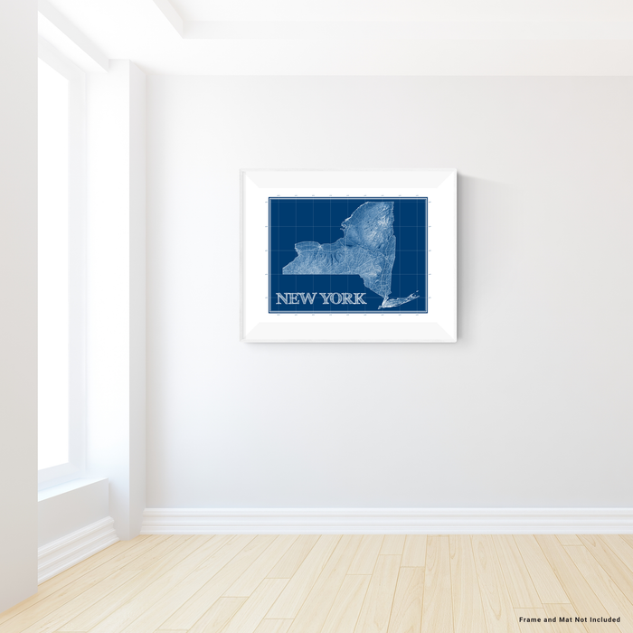 New York state blueprint map art print designed by Maps As Art.