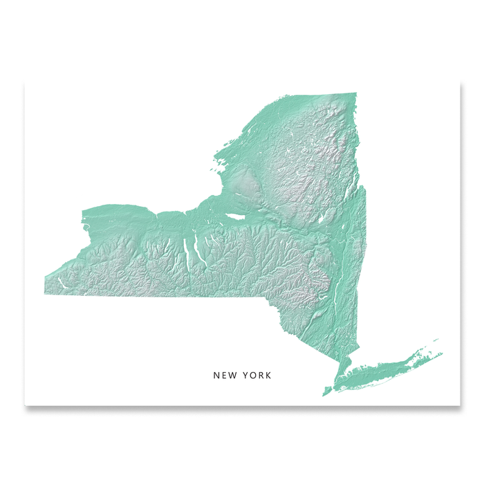 New York state map print with natural landscape in aqua tints designed by Maps As Art.