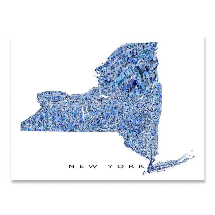 New York state map art print in blue shapes designed by Maps As Art.