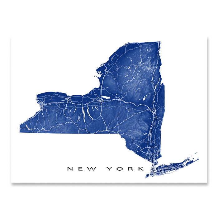New York state map print with natural landscape and main roads in Navy designed by Maps As Art.