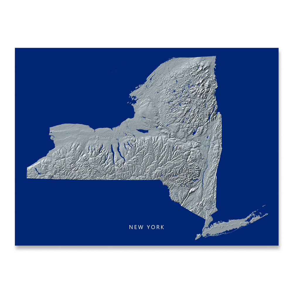 New York Map Print, Navy Landscape