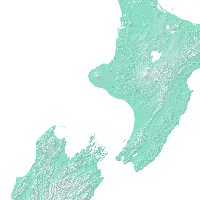 New Zealand map print with natural landscape in aqua tints designed by Maps As Art.