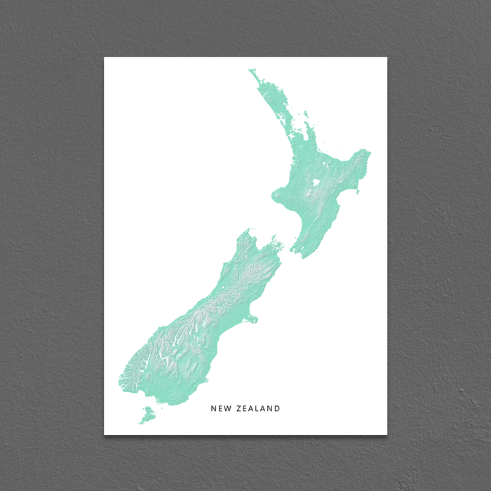 New Zealand Map Print, Aqua Landscape