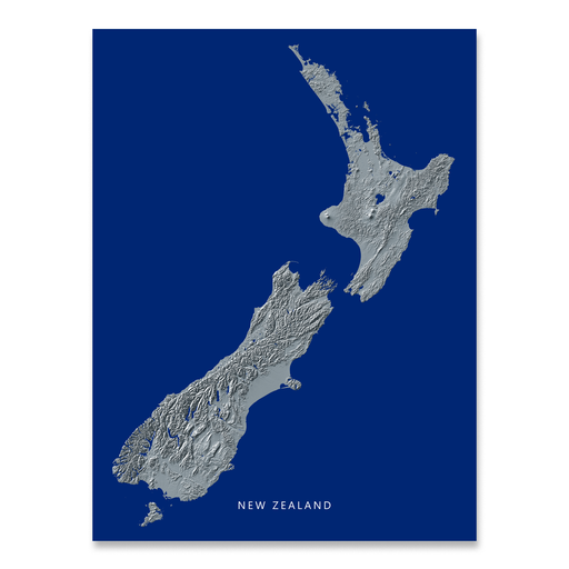 New Zealand Map Print, Navy Landscape