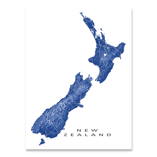 New Zealand map print with natural landscape and main roads in Navy designed by Maps As Art.