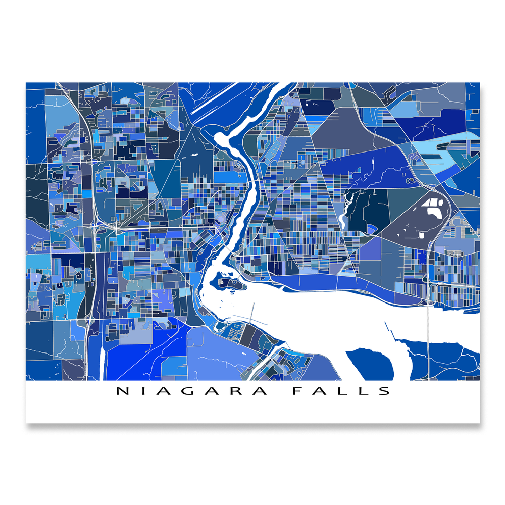 Niagara Falls map art print in blue shapes designed by Maps As Art.