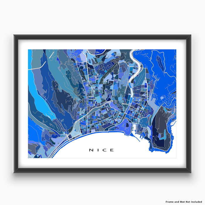 Nice, France map art print in blue shapes designed by Maps As Art.