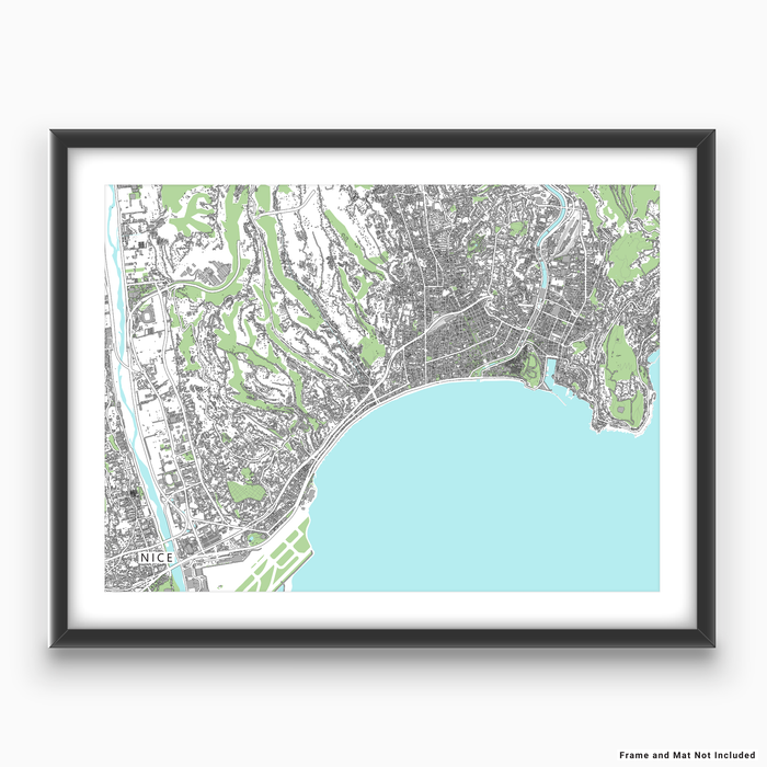 Nice, France map art print with city streets and buildings designed by Maps As Art.