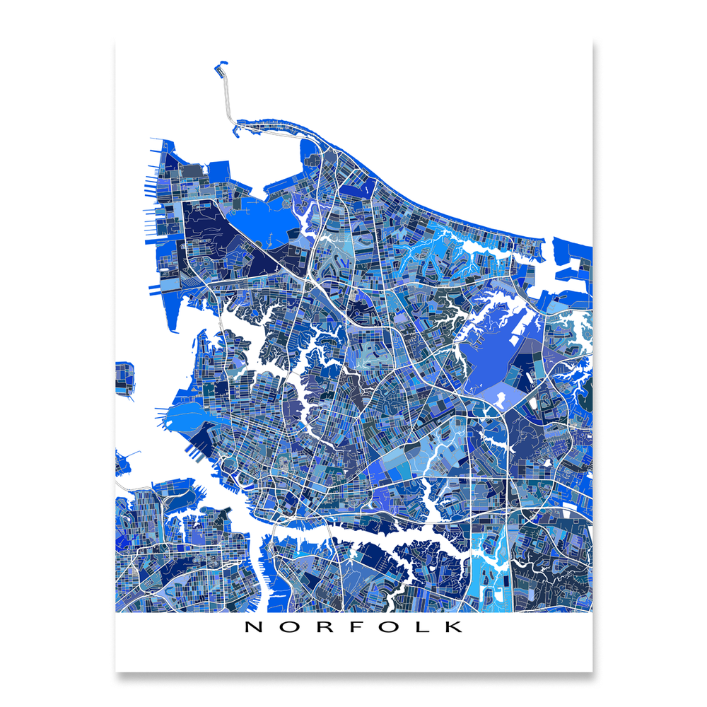 Norfolk, Virginia map art print in blue shapes designed by Maps As Art.