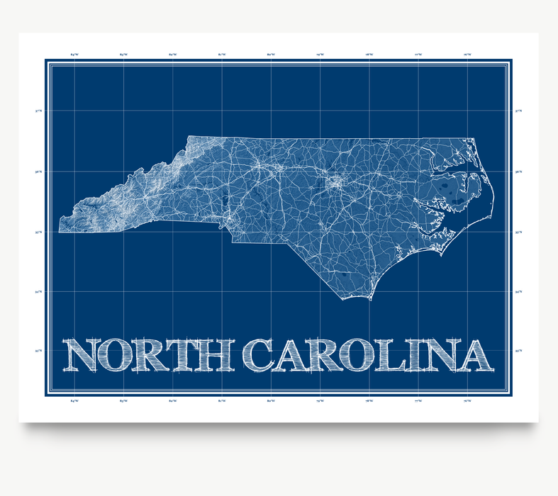 North Carolina state blueprint map art print designed by Maps As Art.