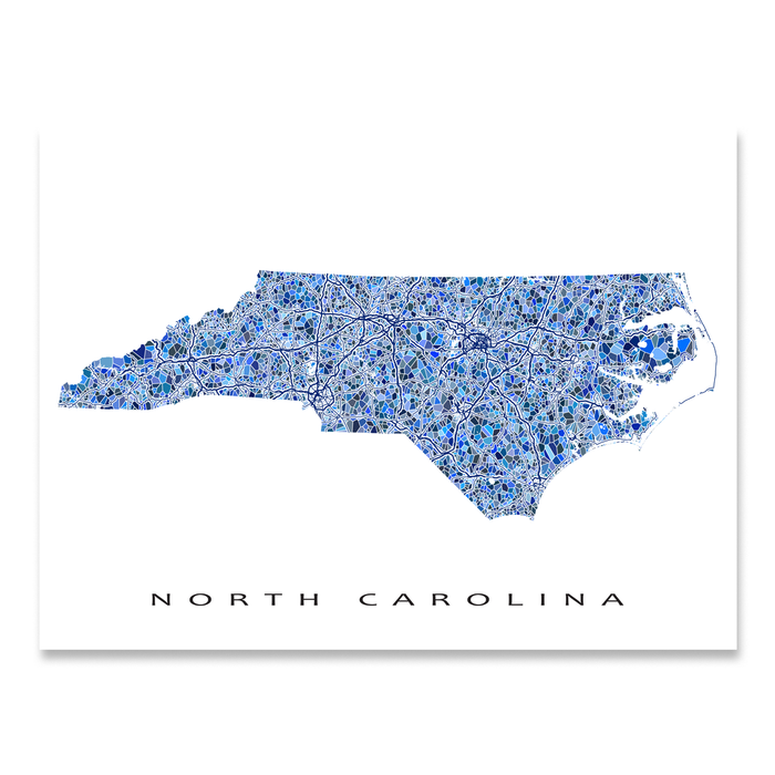 North Carolina state map art print in blue shapes designed by Maps As Art.