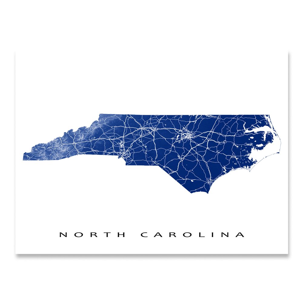 North Carolina state map print with natural landscape and main roads in Navy designed by Maps As Art.