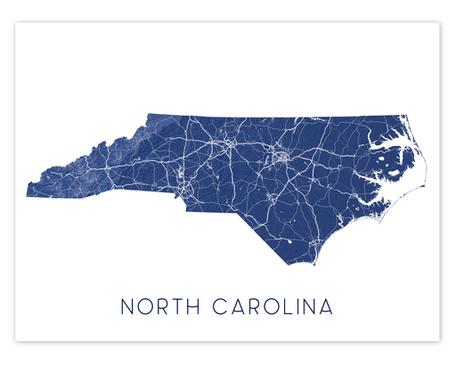 North Carolina state map print in Midnight by Maps As Art.