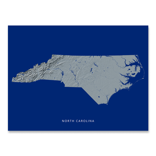 North Carolina state map print with natural landscape in greyscale and a navy blue background designed by Maps As Art.