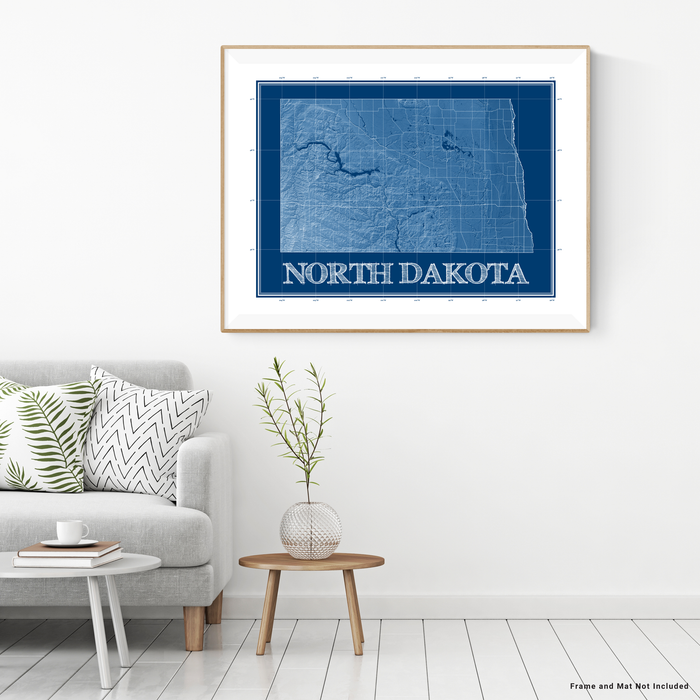 North Dakota state blueprint map art print designed by Maps As Art.
