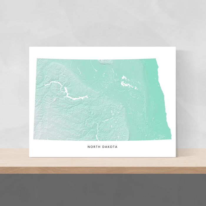 North Dakota state map print with natural landscape in aqua tints designed by Maps As Art.