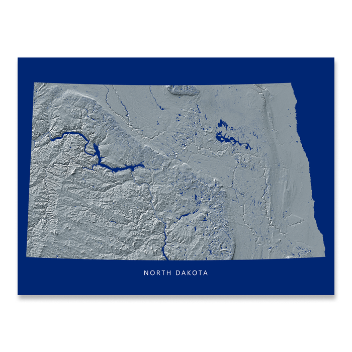 North Dakota state map print with natural landscape in greyscale and a navy blue background designed by Maps As Art.