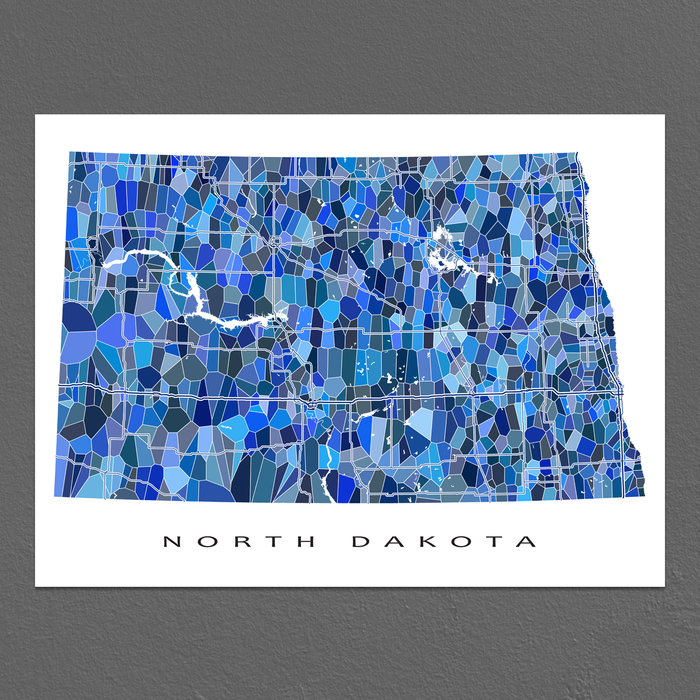 North Dakota Map Print, ND State