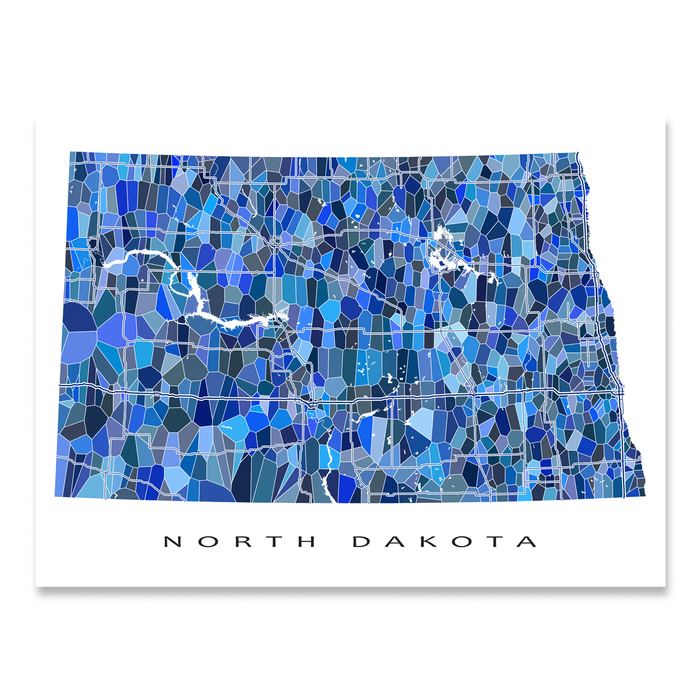North Dakota state map art print in blue shapes designed by Maps As Art.