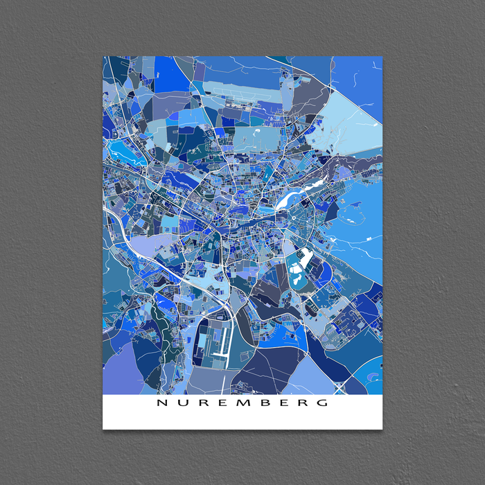 Nuremberg, Germany map art print in blue shapes designed by Maps As Art.