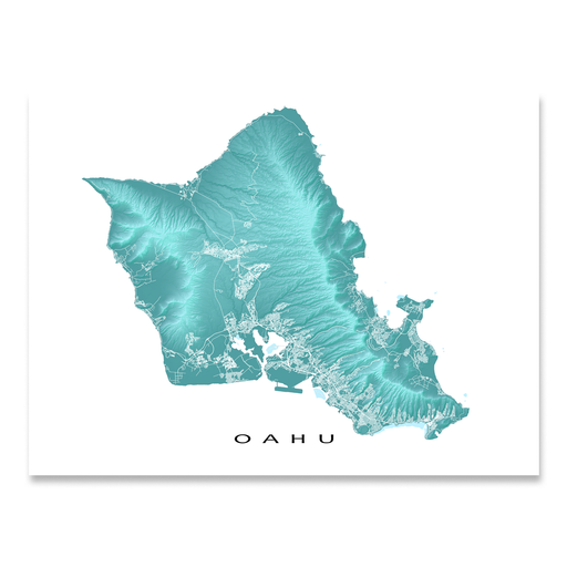 Oahu, Hawaii island map print with natural landscape in aqua tints designed by Maps As Art.