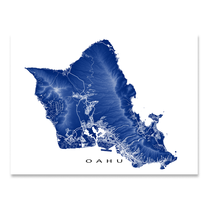 Oahu, Hawaii map print with natural island landscape and main roads in Navy designed by Maps As Art.