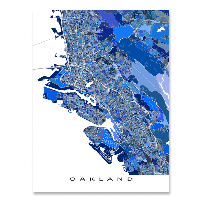 Oakland, California map art print in blue shapes designed by Maps As Art.