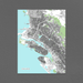 Oakland, California map art print with city streets and buildings designed by Maps As Art.