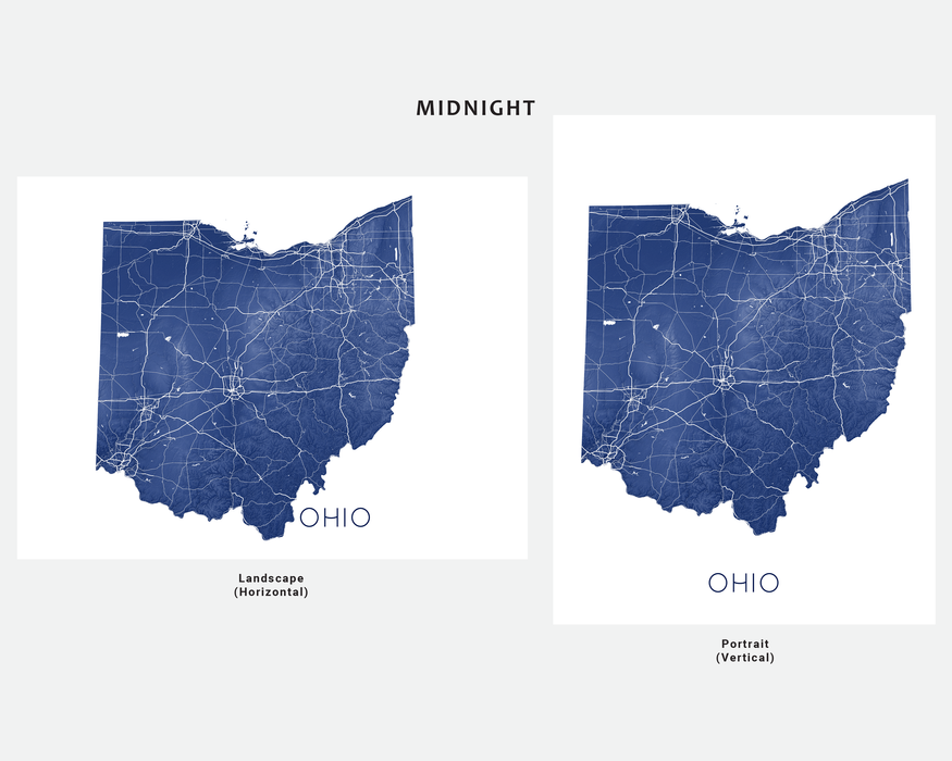 Ohio state map print in Midnight by Maps As Art.