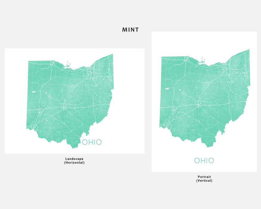 Ohio state map print in Mint by Maps As Art.