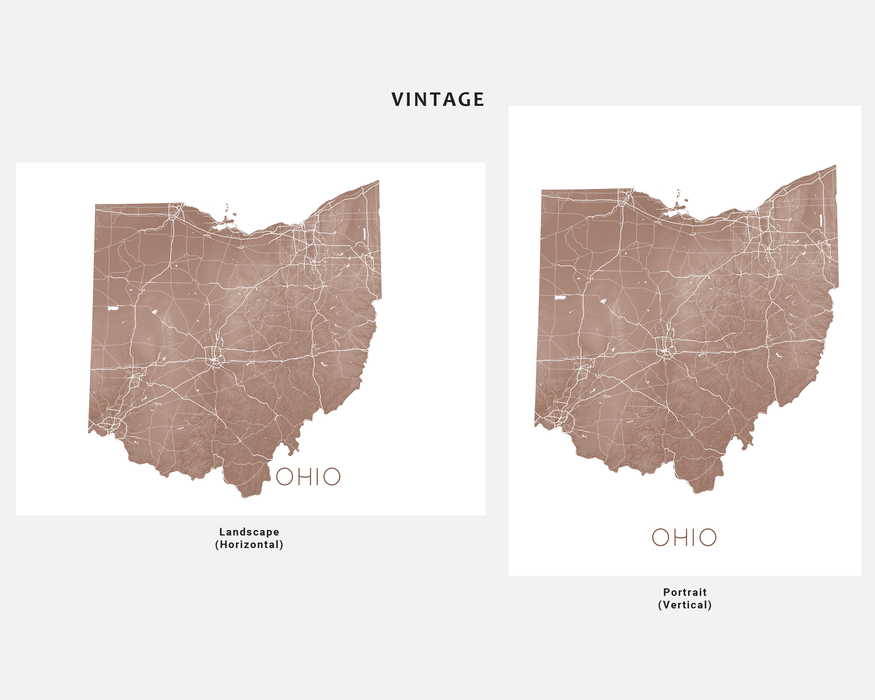 Ohio state map print in Vintage by Maps As Art.