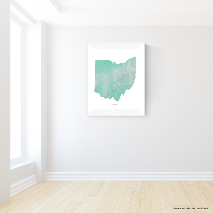 Ohio state map print with natural landscape in aqua tints designed by Maps As Art.