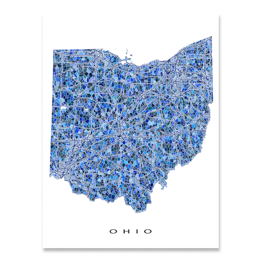 Ohio state map art print in blue shapes designed by Maps As Art.