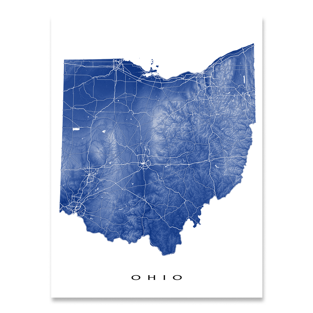 Ohio Map Print, USA State, OH
