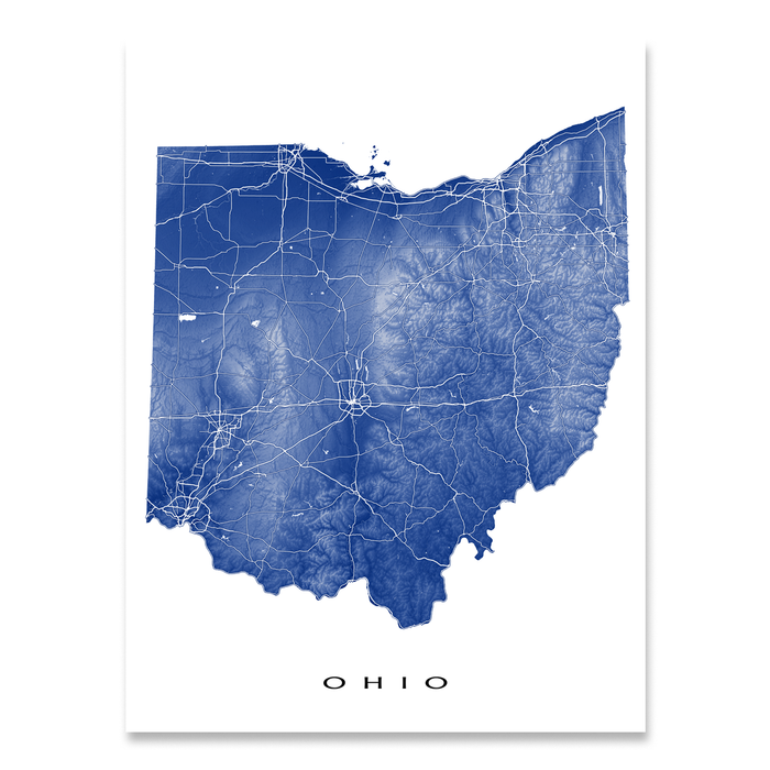 Ohio Map Print Usa State Oh Maps As Art